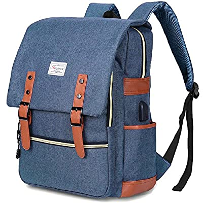 Modoker Vintage Laptop Backpack for Women Men,School College Backpack with USB Charging Port Fashion Backpack Fits 15 inch Notebook (Blue) by Modoker