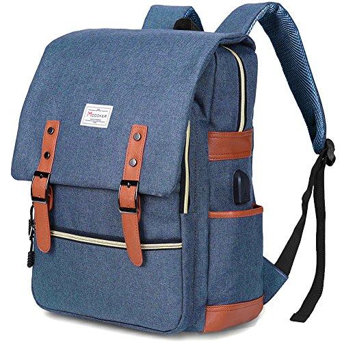 Modoker Vintage Laptop Backpack for Women Men,School College Backpack with USB Charging Port Fashion Backpack Fits 15 inch Notebook (Blue)