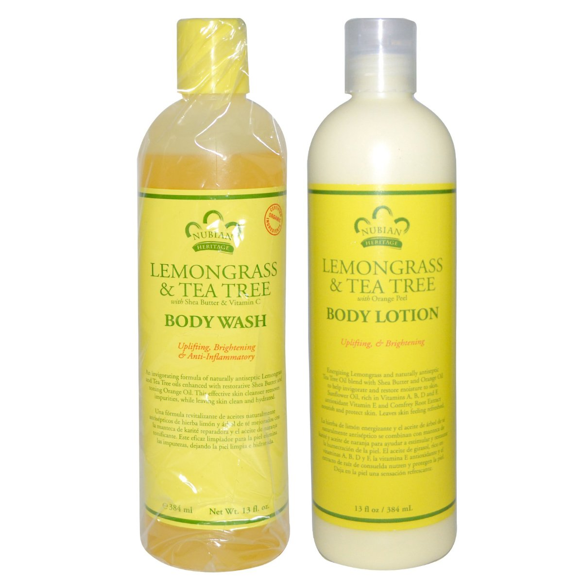 Amazon.com: Nubian Heritage Lemongrass & Tea Tree Body Wash and Body Lotion Bundle, With Shea Butter, Orange Oil & Vitamin E, 13 oz each: Beauty