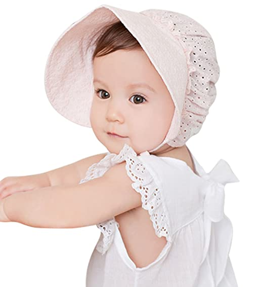 02eaef1b SUMOLUX Summer and Spring Baby Newborn Sweet Lace Princess Fishing hat  Hollow Court Cap Sun hats