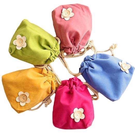 BIGBOBA 5Pcs Bolso con cordón Monederos para Mujer Lindo pequeños Bolsas de Efectivo almacenar Llaves, Moneda(Color enviado al Azar)