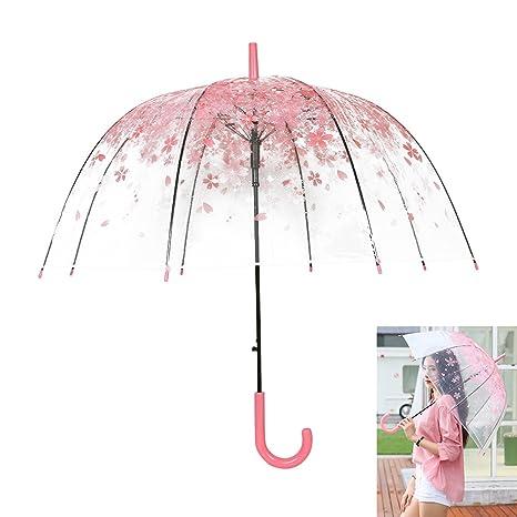 Paraguas Transparente,Flores de Cerezo Semi-automática de Mango Largo Paraguas Viento Impermeable (