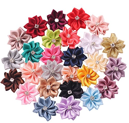 YAKA 54pcs Mix 1.1inch Satin Ribbon Flowers Bows Rose W/Rhinestone Appliques Craft Wedding Christmas Gift Accessories Ornament 27color ()