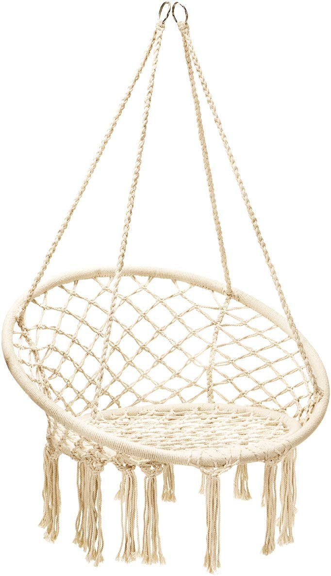 Giantex Hammock Swing Chair, Cotton Rope Handwoven Hanging Chair 330 Pounds Capacity, Macrame Tassels Hammock Swing for C-Hammock Stand, Living Room, Yard, Garden, Balcony (Beige)