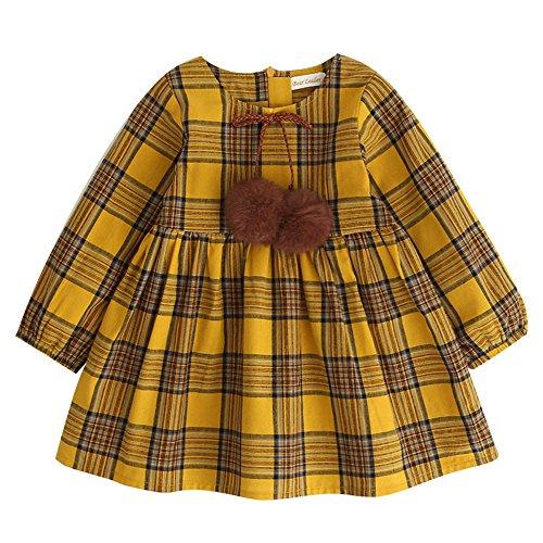 Birdfly Toddler Girls Plaid Long Sleeve Playwear Dress Kid Children Fall Outfit Party Princess Dress