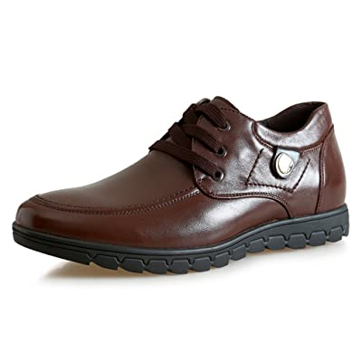 1.97 Inches Taller-Genuine Leather Height Increasing Elevator Shoes Business Flat Leather Shoes