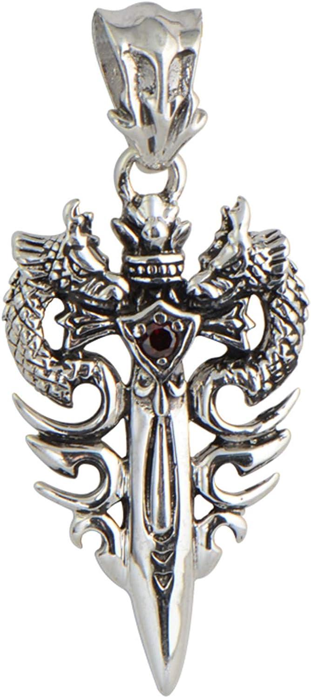 Daesar Collar Plata Hombre 925 Plata Doble Dragón y Espada Colgante con Cadena 20-22 Inch
