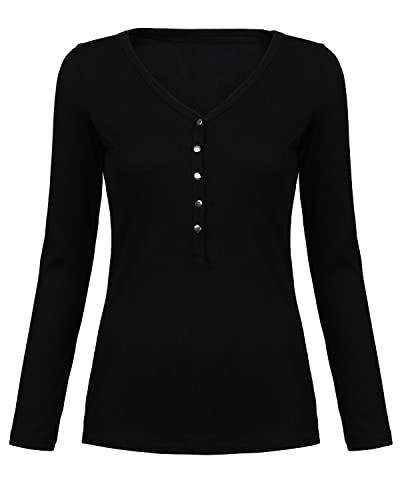 ZANZEA Mujeres Damas Oficina Elegante Algodón Blusa Camiseta Casual Abotonada Cuello V Mangas Largas