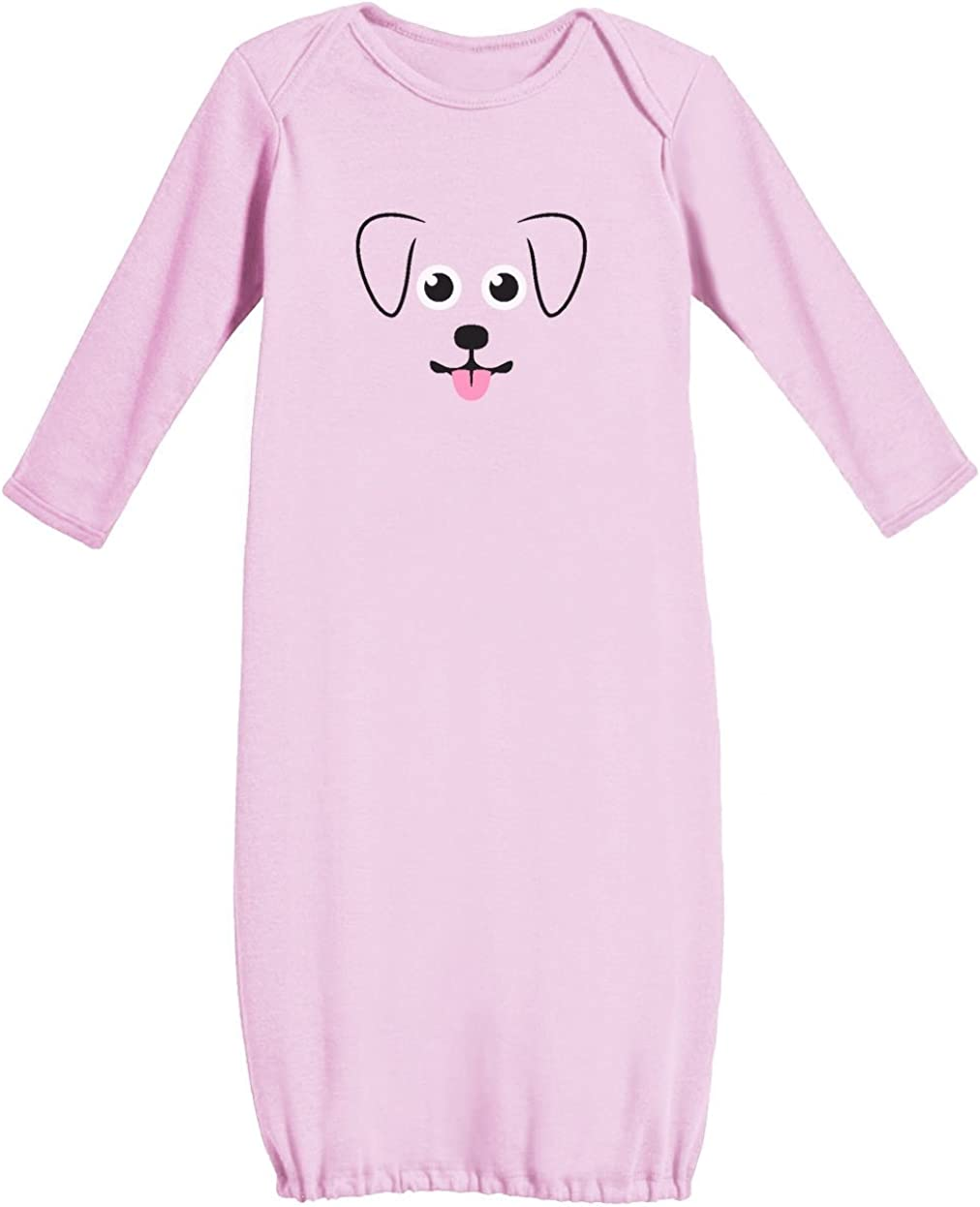 Cute Puppy Face New Born Funny Baby Long Sleeve Gown Newborn Pink My Little Pup TeeStars