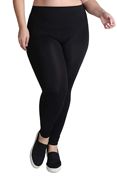 3eb411b695773c Nikibiki Women's Ankle Length Plain Jersey Leggings, Plus Size, Black at  Amazon Women's Clothing store: