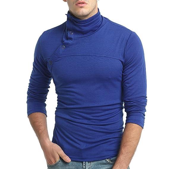 Otoño de Color Puro de los Hombres de Manga Larga Choker Sudaderas con Capucha Top Blusa