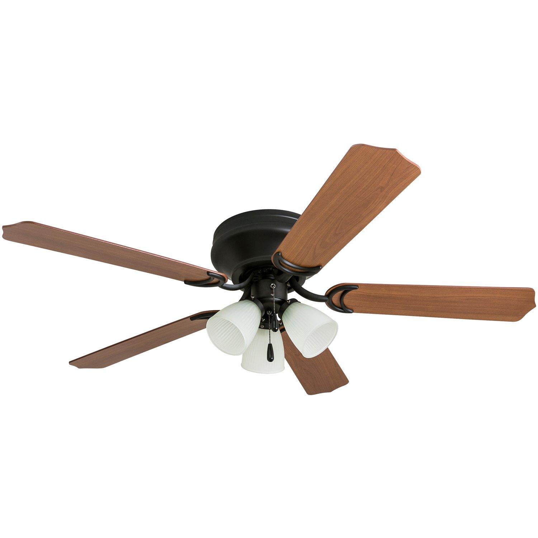 Prominence Home 50867 Tilbrook Hugger LED Ceiling Fan, Indoor Flush-Mount Low-Profile, 52'', Bronze
