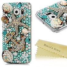 S6 Case,Samsung Galaxy S6 Case (Non-Edge) - Mavis's Diary 3D Handmade Blue Ocean Series Full Diamonds Bling Crystal Golden Anchor Starfish Cute Shells Design [Full Edge Protection] Clear Hard PC Cover
