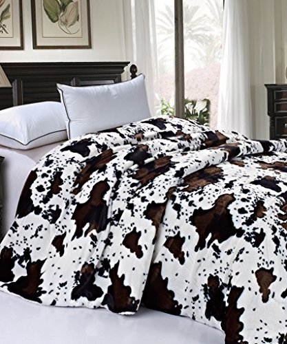 Cow Pattern (BOON Soft and Thick Faux Fur Sherpa Backing Bed Blanket, Cows Flower, 84