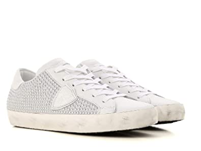 19c9aff4cb2b70 Philippe Model Baskets pour Femmes en Cuir Blanc avec Perles argentées -  Code modèle: CLLD SS02 - Taille: 37 FR: Amazon.fr: Chaussures et Sacs