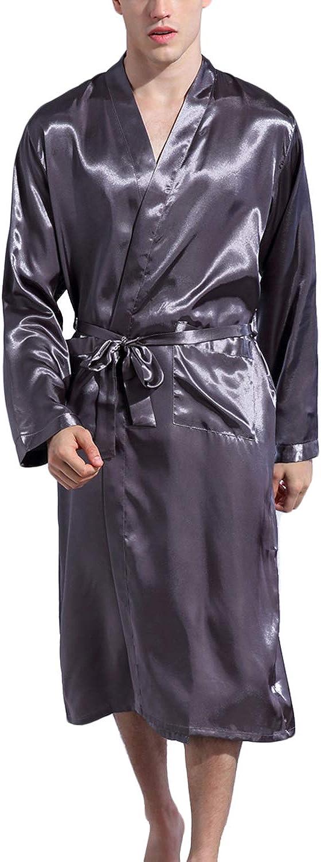 Haseil Men's Satin Robe Dragon Luxurious Silk Spa Long Sleeve House Kimono Bathrobe