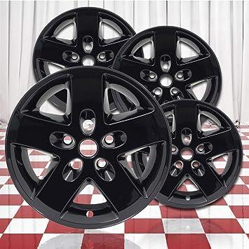 Hlnd:9074 ABS Gloss Black 17in Wheel Skin Overlays for 2007-2018 Jeep Wrangler