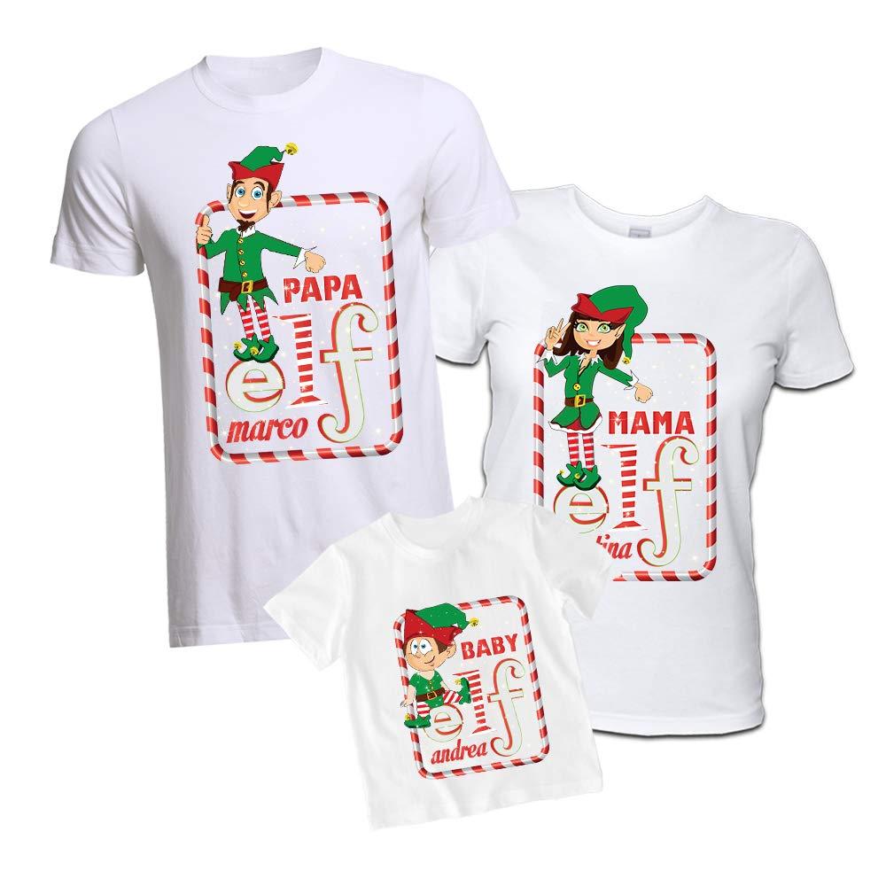 Tris di T-Shirt Famiglia Natalizio Magliette Personalizzate Elf Family con Nomi Maglie papà Mamma Figlio/a