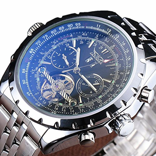 Big Date Automatic Watch - JARAGAR Fashion Big Dial Auto Date Stainless Steel Band Chronograph Men Automatic Mechanical Tourbillon Watch