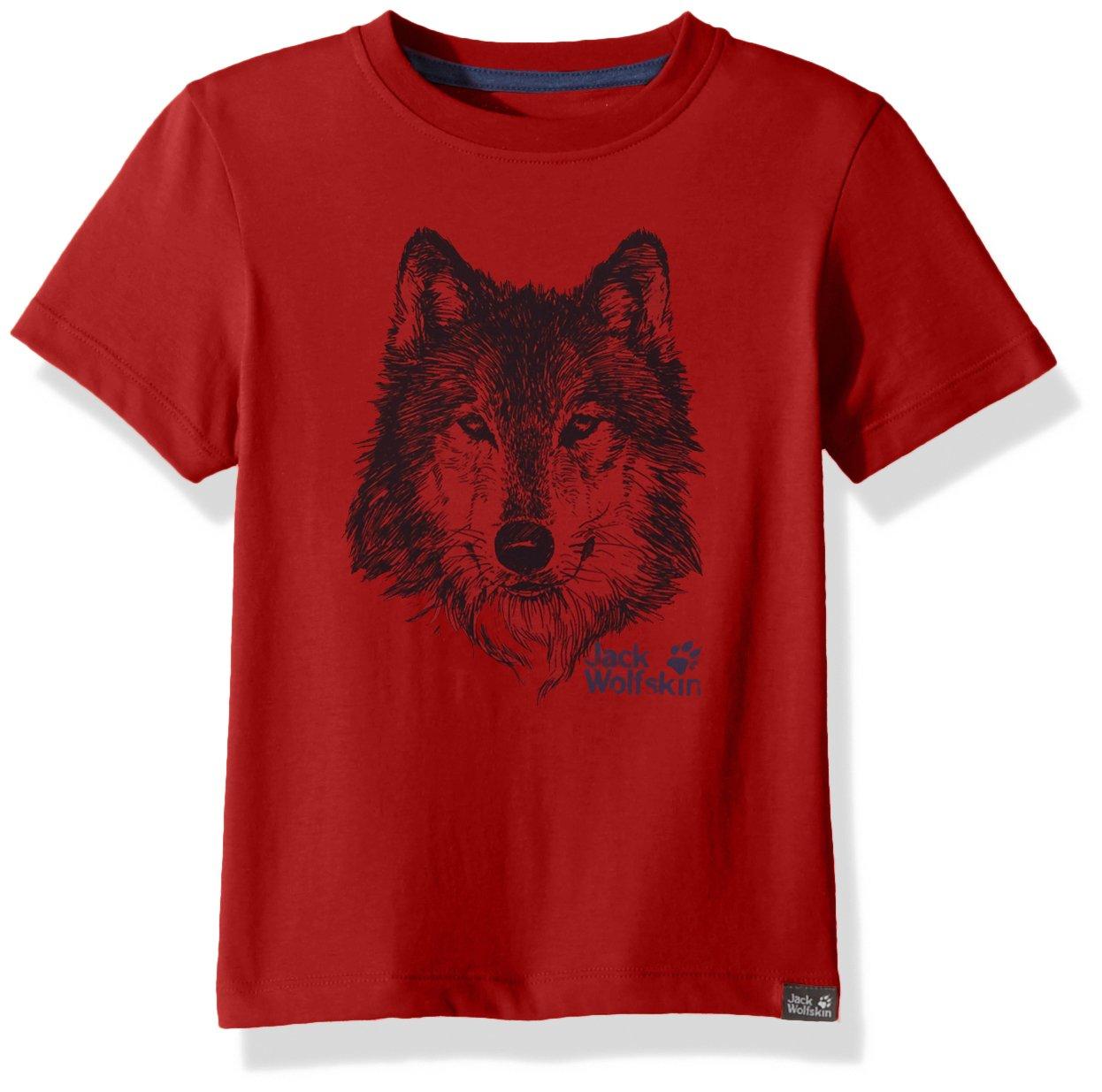 Jack Wolfskin Boy's Brand T T-Shirt Short Sleeve, 164 (13-14 Years Old), Peak Red by Jack Wolfskin