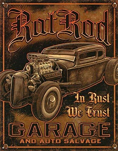 Jacksoney Tin Sign New Aluminum Rat Rod Garage Distressed Retro Vintage Metal Sign 11.8 x 7.8 Inch