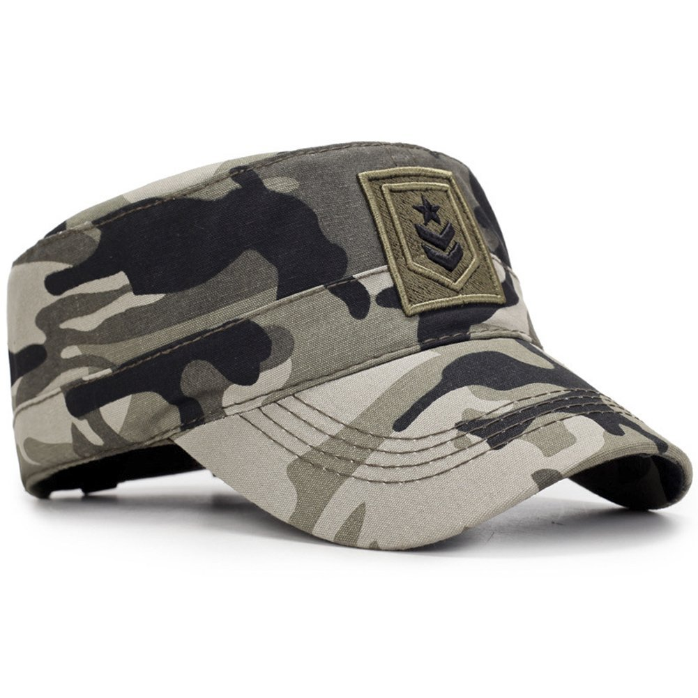 ae4b9f85bd7 ChezAbbey Men s Solid Brim Flat Top Caps Adjustable Military Hats Dark One  Size Black  Amazon.in  Clothing   Accessories