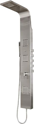 PULSE ShowerSpas 1034 Waimea ShowerSpa Panel with 6 Rain Waterfall Showerhead, 3 Oversize Body Sprays, Hand Shower, Brushed Matte Stainless Steel Finish