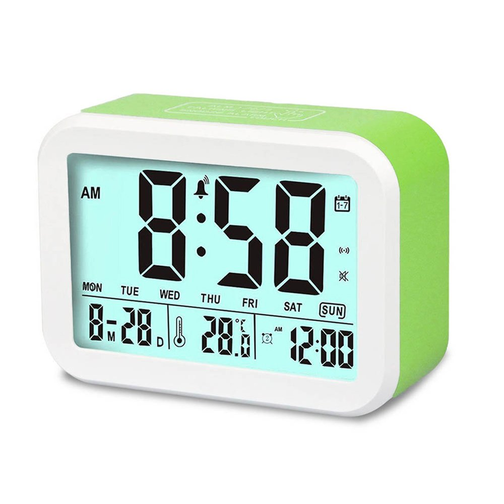 Digital Alarm Clock, MONYAN Electronic Talking Alarm Clocks for Kids,Teens and Heavy Sleepers, 4.5'' Big Display,Smart Backlight,Battery Operated, Snooze Mode,3 Alarms, 7 Rings-Green
