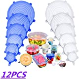 Maojiang Silicone Stretch Lids (12Pcs, 6 Sizes), Reusable Food Elastic Lids, Food Preservation Lids for Bowls, Cups, Jars, Pots (Blue and White)