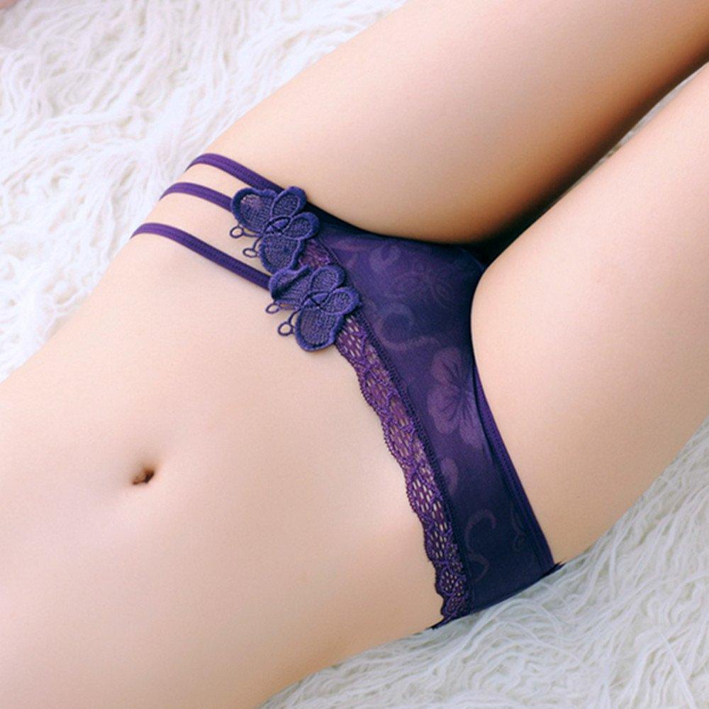 Diversión sexy Mujeres ropa doble interior de encaje sexy ropa interior de doble ropa mariposa v-string informes Sra.,one size,Púrpura f414fd