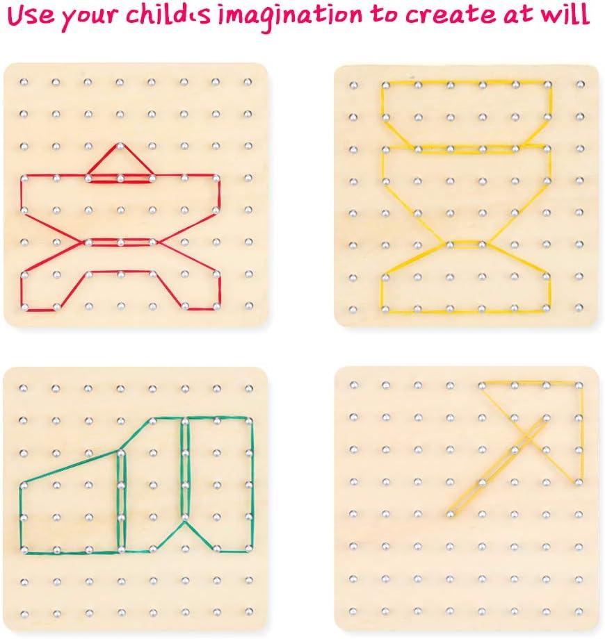 8x8 Geometr/ía Geoboard Montessori Rompecabezas de Formas Inspire la Imaginaci/ón y Creatividad Educaci/ón Juguete para Ni/ños Mitening Geoboard de Madera con Tarjetas de Actividad y Bandas de Goma