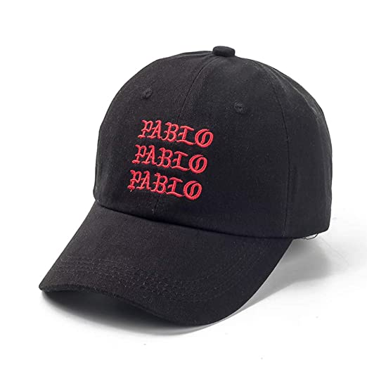 Amazon.com  ECOATUP Baseball Cap Kanye Pablo Embroidery dad hat Men Women  Snapback Cap Hats Black  Clothing 66820fcdcea