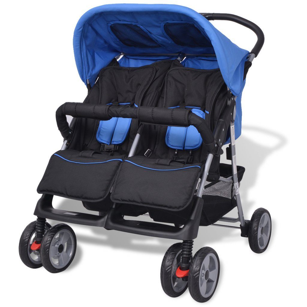 Festnight Baby Twin Stroller/Pram Lightweight Pushchair - Blue and Black, Steel and Fabric, 93x68x103 cm