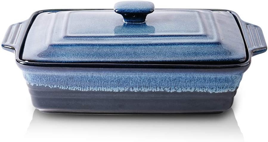 KOOV Ceramic Casserole Dish with Lid, Covered Rectangular Casserole Dish Set, Lasagna-Pans for Cooking, Baking dish With Lid for Dinner, Kitchen, 9 x 13 Inches, Reactive Glaze (Nebula Blue)