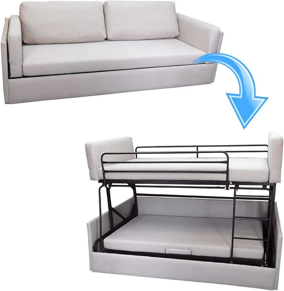 Platinum Furniture Transforming Sofa Bunk Bed In Grey Fabric Folding Couch Twin Bed Amazon Co Uk Kitchen Home