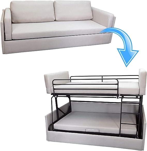 Platino Furniture - Sofá cama de tela gris transformable en ...