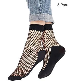 7474049117b73 Bkvava Womens Ankle High Socks with Bottom Hosiery Sheer Silk Fishnet Sock  5 Pack