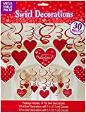 "Amscan Blushing Valentines Foil Swirl Party Decoration (30 Piece), 7"", Red/ White"