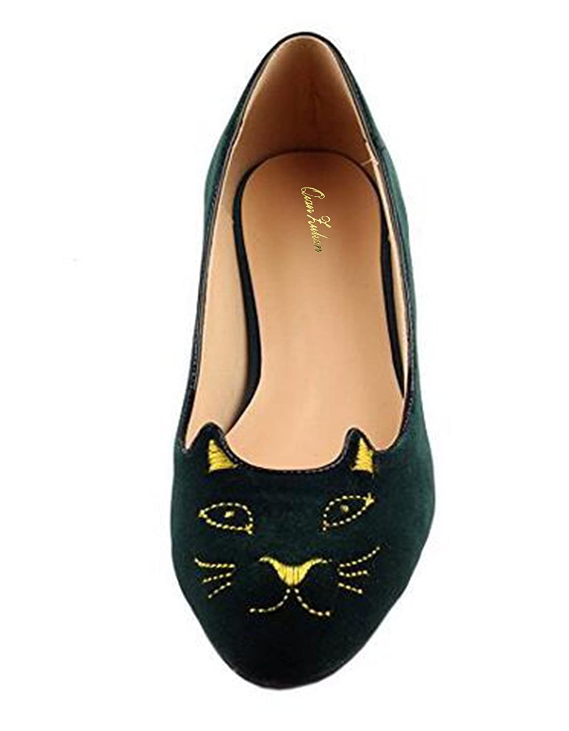 QianZuLian Womens Flats Cat Shape Pumps Round head Slip On Dress Shoes Comfort for Home Leisure On foot B0757V1RK3 9 B(M) US|Dark Green