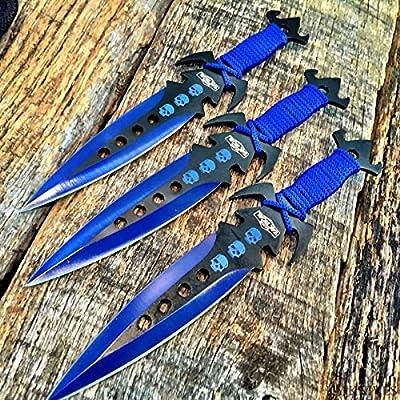 "3 pcs. 7.5"" Ninja Tactical Combat Kunai Throwing Knife Set w/Sheath BLUE Hunting"