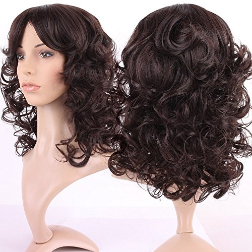 [S-noilite 30Style Dark Brown Fullfy Curly Full Wig, Shoulder Long Hair Heat Resistant Kanekalon Fibre Wigs (Dark brown] (Perm Wigs)