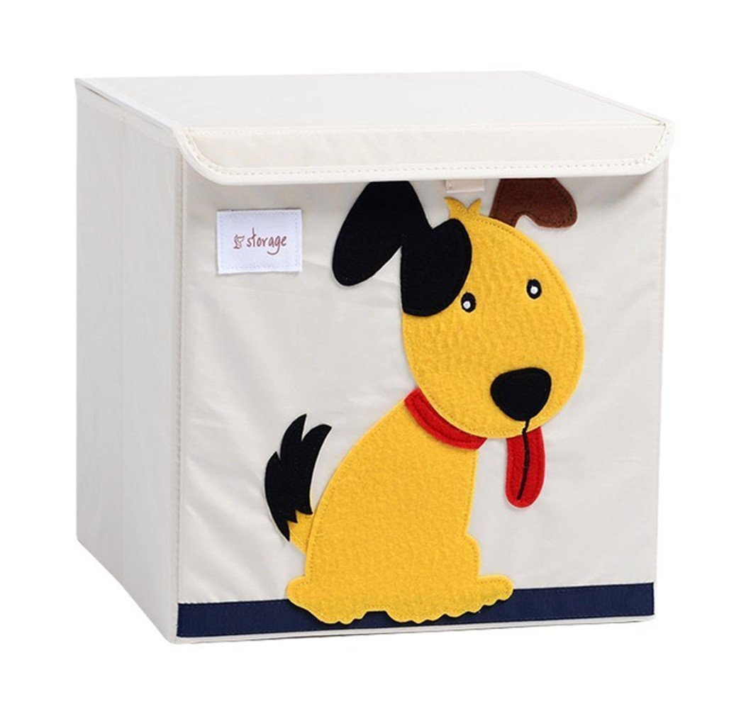 Pasutewel Kids Storage Box, Large Capacity Foldable Cartoon Canvas Cube Organiser For Clothes, Shoes, Toys (Dog)