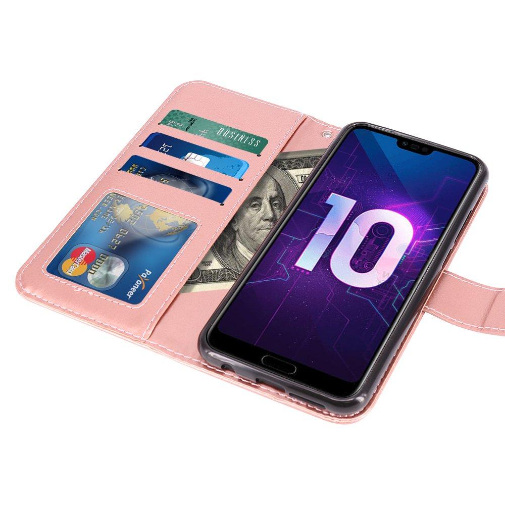 Oro Rosa Case in Pelle PU di Lusso Portafoglio con Fessure di Carta Cover Protettiva LK Cover per Huawei Honor 10 Custodia