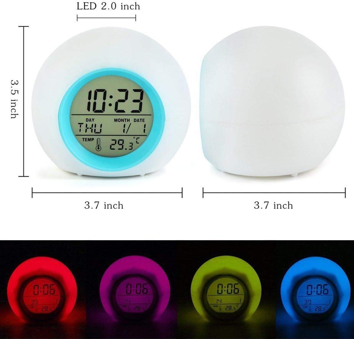 Haikaini R/éveil num/érique Color : Red r/éveil Led r/éveil de chevet Snooze sons naturels calendrier temp/érature fonction lampe de nuit id/éal pour cadeau maison