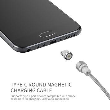NXET magnético USB Type-C Cable, redondo tejido trenzado de ...