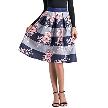 QAQBDBCKL Moda Mujer Retro Floral Impreso Falda Plisada Franja De ...