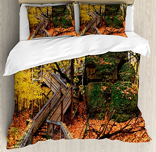 Lunarable Woodland Duvet Cover Set Queen Size, Scenic Autumn Colorful Image of Rock Cut State Park Illinois Wooden Stairs Leaves, Decorative 3 Piece Bedding Set with 2 Pillow Shams, Multicolor (Illinois Sham)
