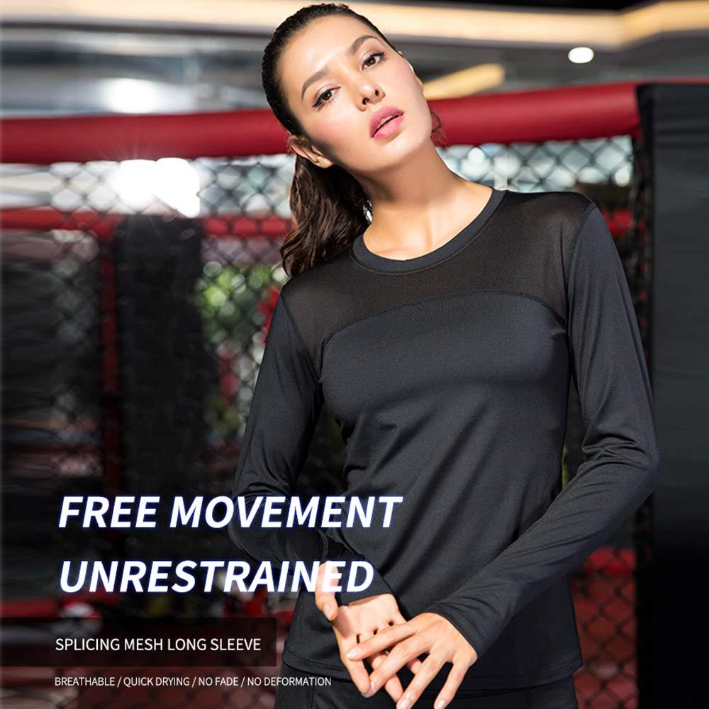 ace6a1b8cbc Yuerlian Camiseta de compresión para mujer, cuello redondo, manga larga,  fresca, transpirable, elástica, sudadera deportiva rápida, 3 unidades, 1  paquete, ...