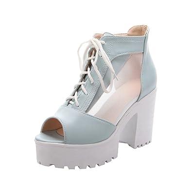 Women's Zip Peep Toe Voile Mesh Platform High Heel Summer Boots