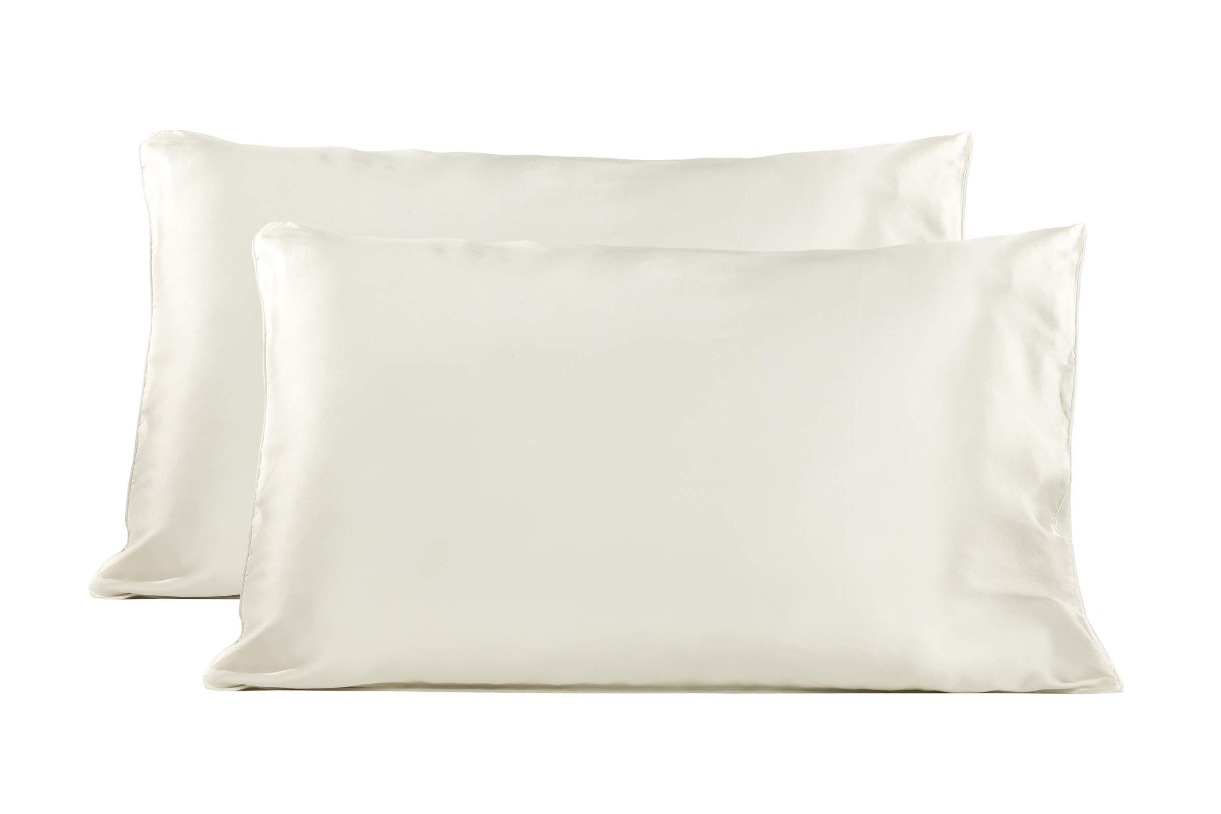TexereSilk Mulberry Silk Pillowcase (2-Pack, Natural White 2 PK, Q) Gift for Mom